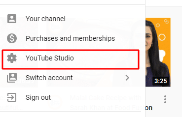 Step 1. Go to your Youtube studio