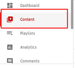 Step 2. Go to Content or videos