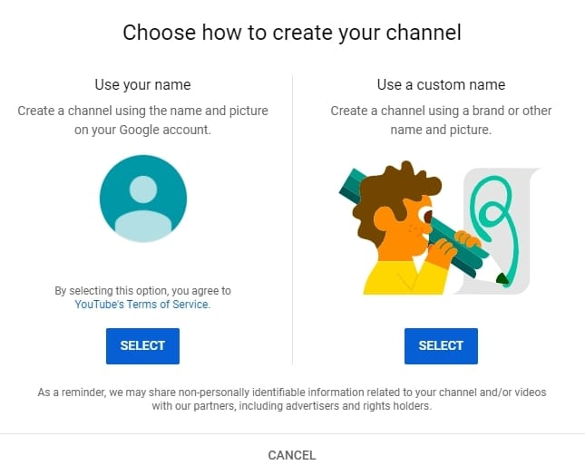 use your name or use a custom name