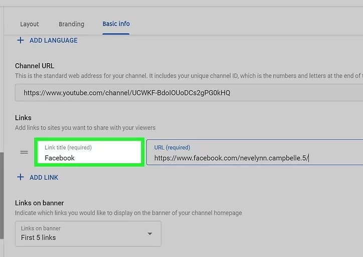 Step 6 to add Social Media Icons to Youtube Banner