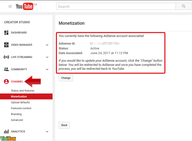 How to change your AdSense account on YouTube