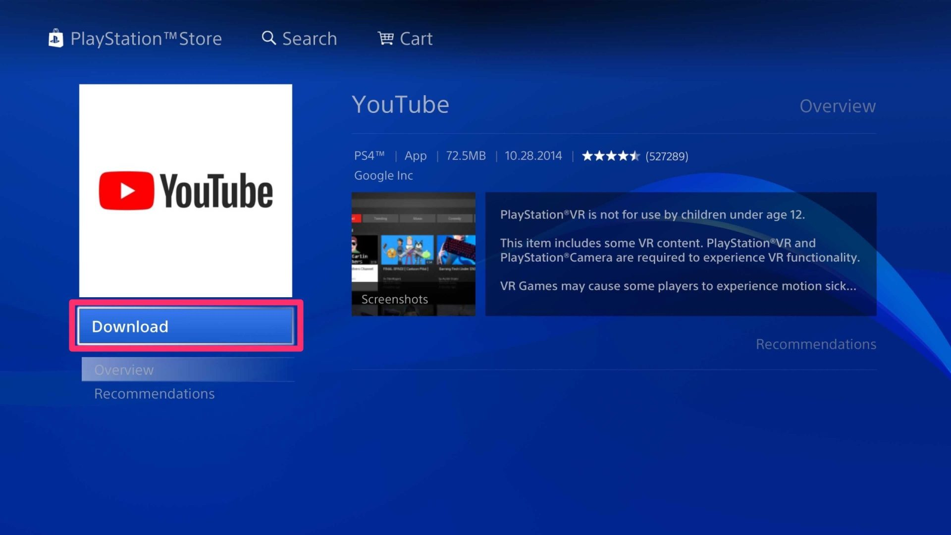 Download YouTube on PS4