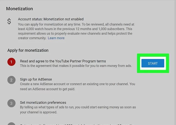 connect youtube to adsense step 4