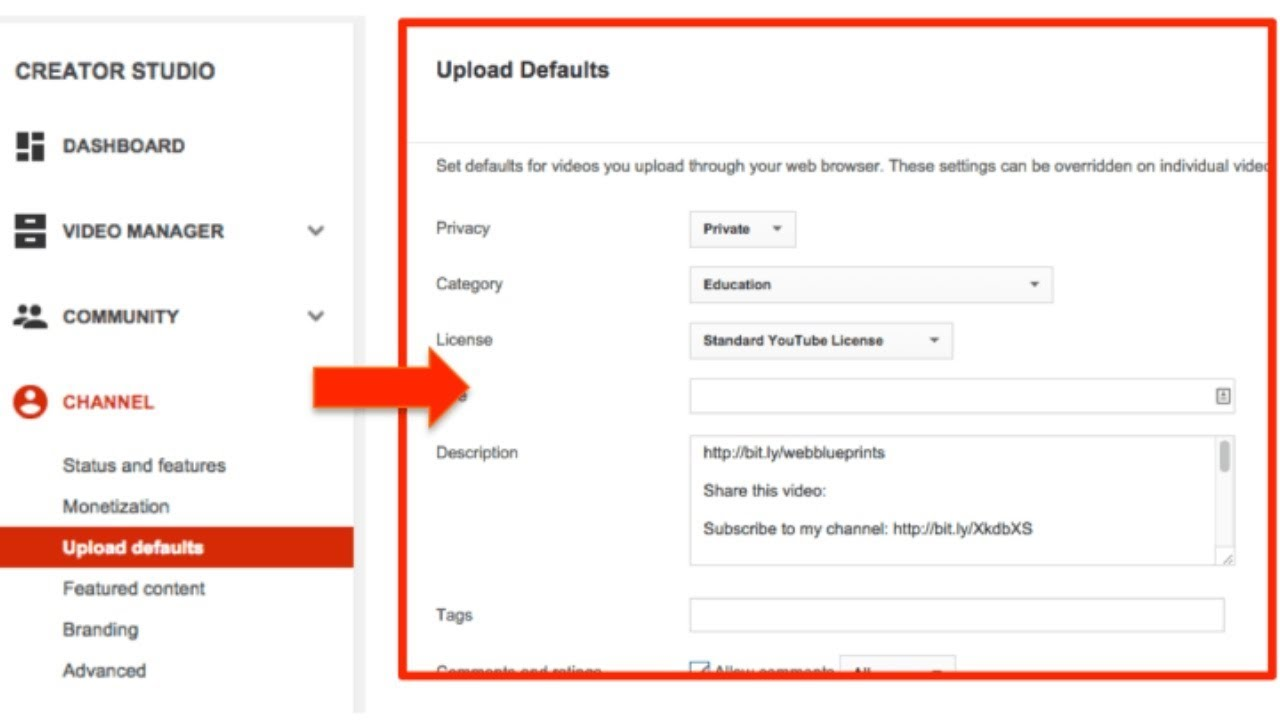 How to Set Default Description on YouTube?