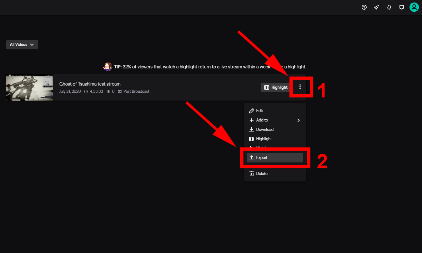 Export Twitch Videos to YouTube Step 2