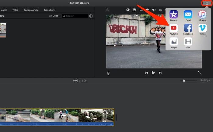 Upload iMovie Videos on YouTube step 2
