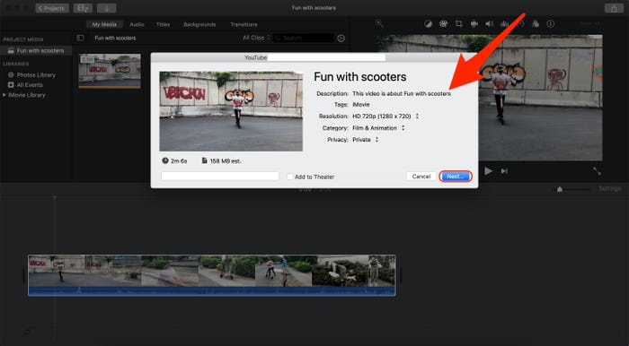 Upload iMovie Videos on YouTube step 3