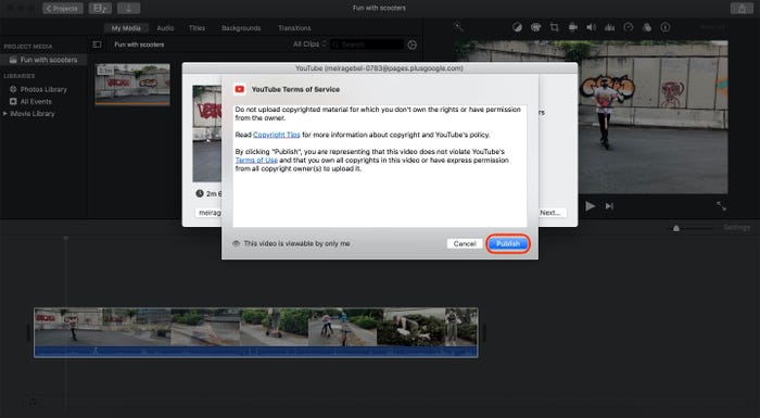 Upload iMovie Videos on YouTube step 4