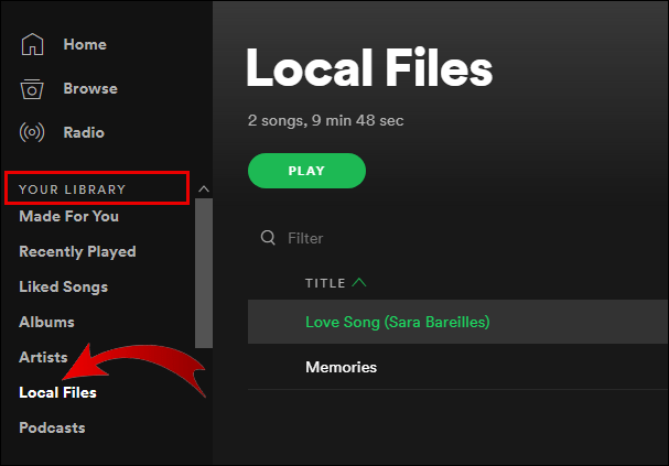 Access Local Files on Spotify